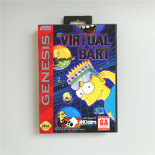 Sanal Bart abd kapak perakende kutusu ile 16 Bit MD oyun kartı Sega Megadrive Genesis Video oyunu konsolu