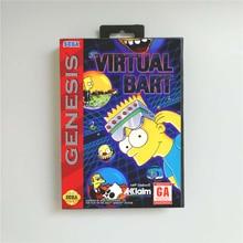 Virtual Bart 소매 상자가있는 미국 커버 Sega Megadrive Genesis 비디오 게임 콘솔 용 16 비트 MD 게임 카드