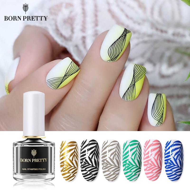BORN PRETTY Black White Nail Stamping Polish Varnish Gold Silver Nail Art Plates Stamp Oil For Nails Design Spring Series 7ml
