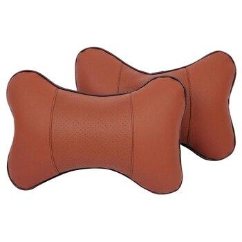2 x Автомобильная подушка для шеи, удобная мягкая дышащая Кожаная подушка для подголовника для шеи автомобиля, подушка для расслабления шеи, ...