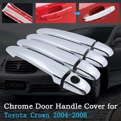 Chrome pokrywa klamki drzwi samochodu dla Toyota Crown S180 MK12 2004 ~ 2008 luksusowe pokrowce tapicerka samochodowa zestaw akcesoria zewnętrzne 2005 2006 2007 w Naklejki samochodowe od Samochody i motocykle na