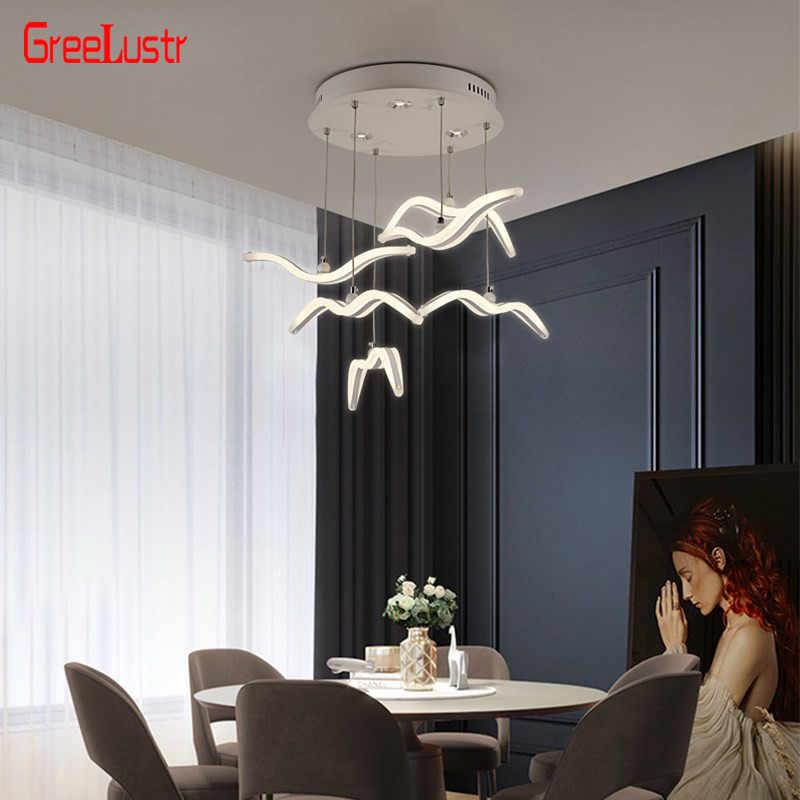 nordic seagull design led kronleuchter fur bar kuche vogel kronleuchter decke acryl lustre suspension leuchte leuchte