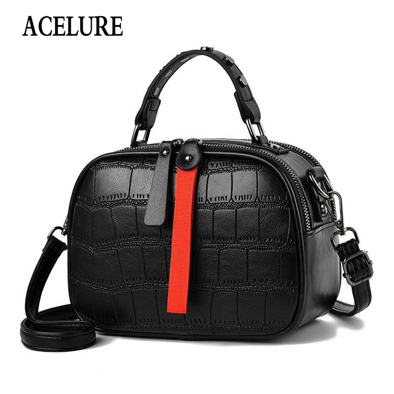 ACELURE Crocodile Pattern Women Bags Ladies Alligator PU Leather Shoulder Bag Solid Color All-match Fashion Small Purse Handbags