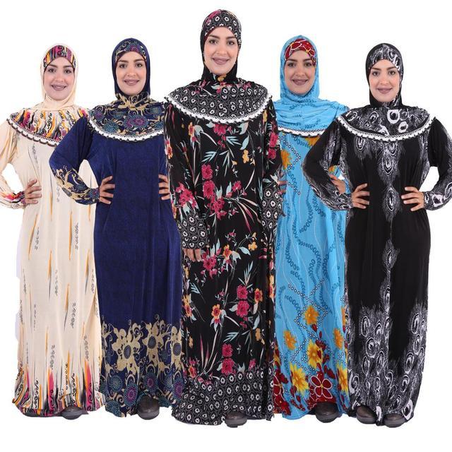 (choose color&flower pattern) Muslim womens Prayer robe  Middle East ABAYA