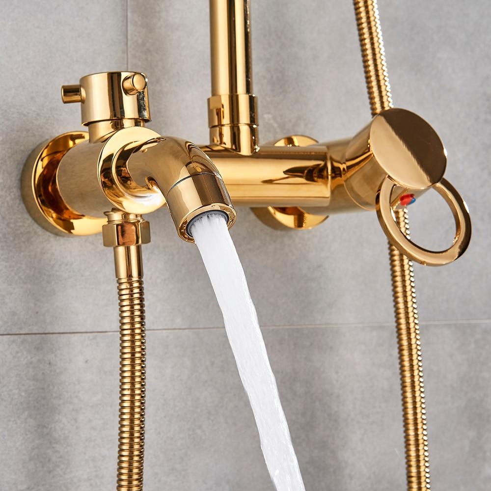 "H5c475c53ac7a46228844819aa07c2b0ay Gold Polish Bathroom Rain Shower Faucet Bath Shower Mixer Tap 8"" Rainfall Head Shower Set System Bathtub Faucet Wall Mounted"