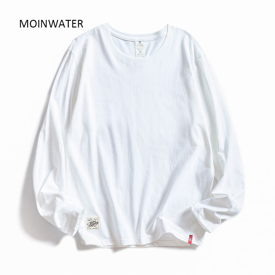 MOINWATER Women O-neck Long Sleeve T shirts Lady White Cotton Tops Female Soft Casual Tees Women's Black T-shirt MLT1901 1