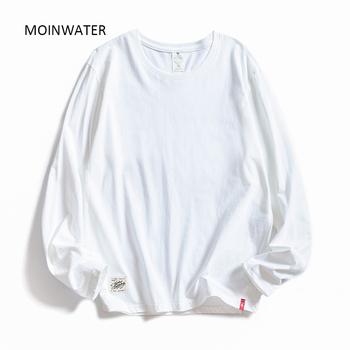 MOINWATER kobiety O-neck z długim rękawem t-shirty Lady białe bawełniane topy kobiece miękkie koszulki w stylu Casual damska czarna koszulka MLT1901 tanie i dobre opinie CN (pochodzenie) Wiosna jesień COTTON Tees Pełna REGULAR JERSEY Stałe WOMEN NONE Na co dzień Osób w wieku 18-35 lat