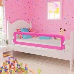 Carril de cama de seguridad para niños pequeños 2 uds Rosa 150x42 cm