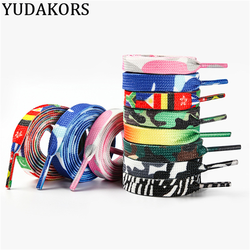 Camouflage National Flag Printing Kids Adult Sports Shoe Laces Men Women Casual Canvas Classic Flat Shoelaces 120 140 160 180 CM