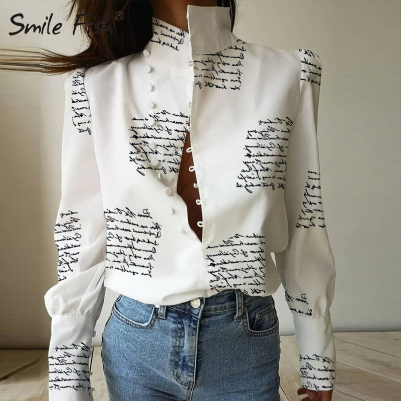Letters Printed Buttons Up Stand Collar Shirts Women New Fashion Lady White Blouses 3XL Long Sleeve Chain Blusas Plus Size M0303
