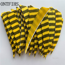 50pcs/lots 4 Shield Hunting Arrow Feathers Striped Turkey Feather Archery Accessories 11 Color Fletching A-256