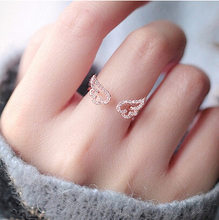 South Korea Korean-style Fashion Parts Cute Micro Zircon Angel Wings Wing Adjustable Ring Rings Women's Accessories(China)