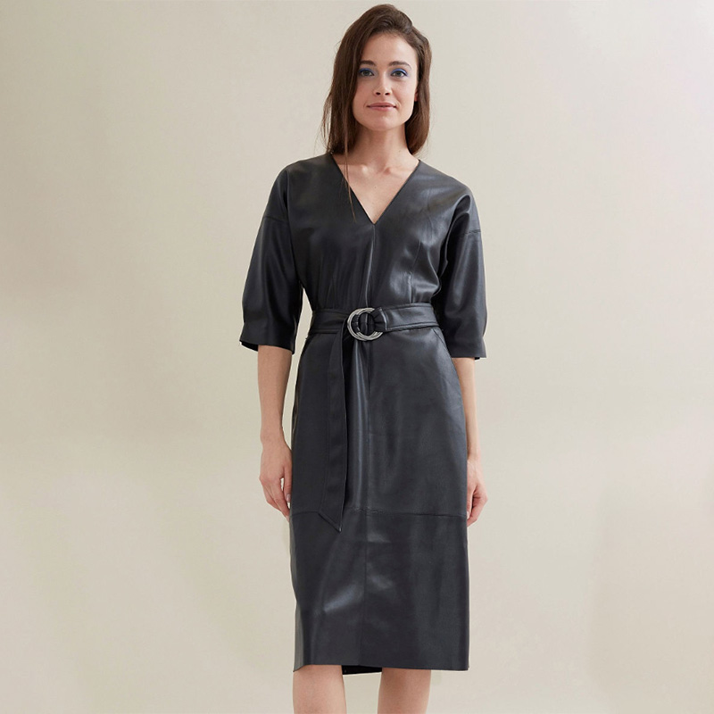 Women Sexy V Neck Pu Leather Straight Dress Ladies Short Sleeve Slim Belt Elegant Autumn Spring Fashion Dress Vintage Vestidos