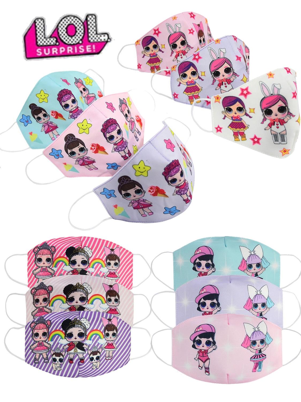 Doll masks lol kids mask children face mouth mask lip Reusable dusting protective masks cartoon child mask Cotton Dustproof mask