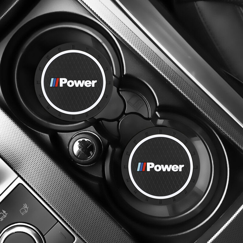 2 pçs carro auto copo de água slot antiderrapante esteira acessórios para bmw desempenho de potência m3 m5 x1 x3 x5 x6 e46 e39 e36