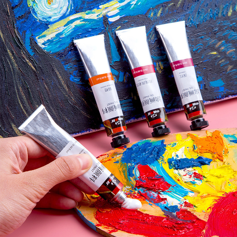 Tubular 20ml Oil Painting Set Pigment Beginner Hand Paint Dyestuff Coating Art Supplies Articles 12/24 Colors Brush
