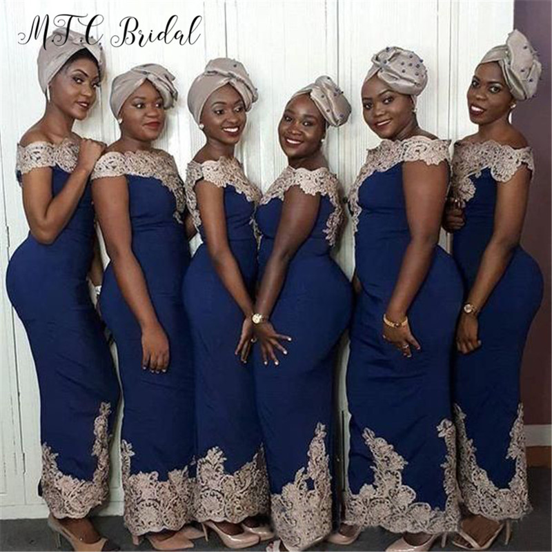 Navy Blue African Bridesmaid Dresses Golden Lace Off The Shoulder Straight Style Wholesale Maid Of Honor Dress Cheap 2019 New