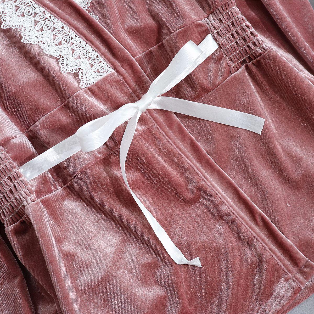Image 5 - Велюровая Женская домашняя одежда пижамы 3 шт ремень топ брюки костюм пижамы комплекты ночных рубашек соблазнительное кимоно Ночной халат-in Комплекты халатов и сорочек from Нижнее белье и пижамы on AliExpress - 11.11_Double 11_Singles' Day