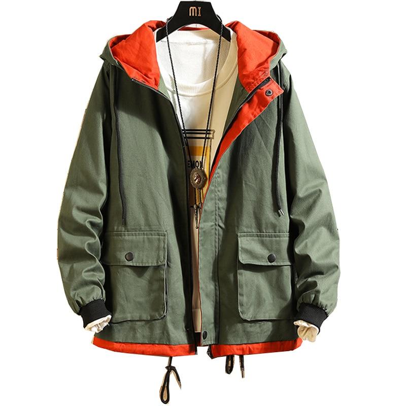Autumn Men's Coat Large Size 5XL Port Wind Tooling Jacket Japanese Student Leisure Hooded Jacket