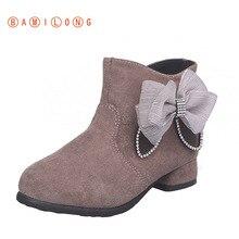 Princess Shoes Korean-Bow Boots High-Heel Girls' Winter New Plush Autumn BAMILONG S473