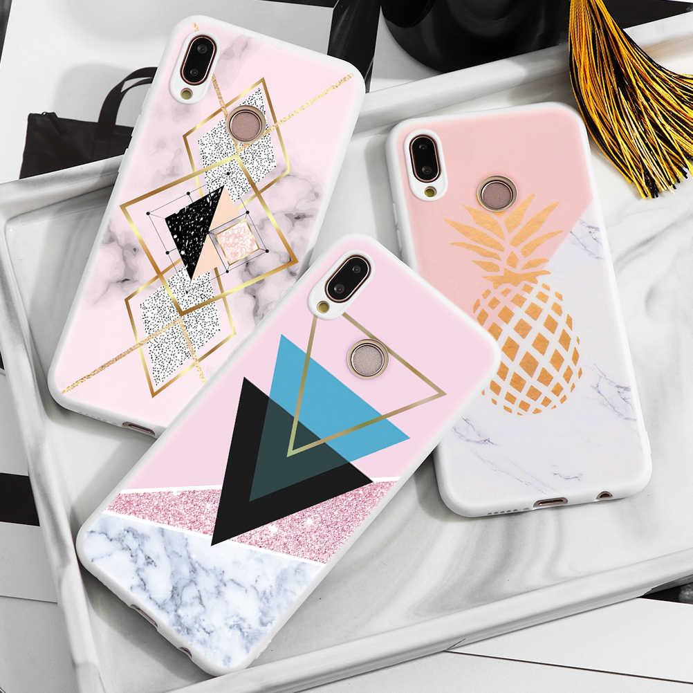 Mármore Macio TPU Casos de Telefone Para Huawei P30 P20 P10 Lite Companheiro 10 20 30 Pró Honra 8X 9X 10i 20i Lite 2017 P Smart Cover 2019 Caso