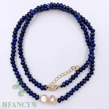 Blue Chalcedony Pink Baroque Pearl Necklace 18 Inches Jewelry Women Chic Aurora Chain Hang Wedding(China)