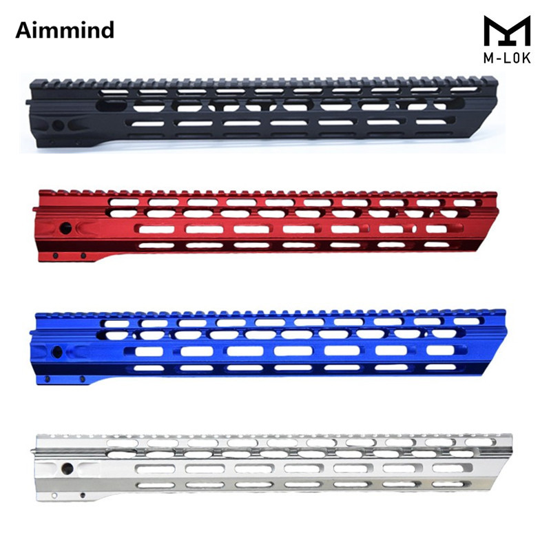 Mlok handguard Free Float Super Slim ar 15 M-Lok Handguard Quad Rail W/ Nut Fit .223 for AR15 M4 M16 m lok handguard(China)
