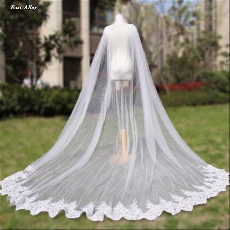 Image 2 - Cathedral Length Wedding Cape Veil  Bridal Cloak Lace Long Bridal Accessories Manto-in Bridal Veils from Weddings & Events