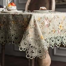 Mantel de ganchillo de encaje bordado de diseñador, elegante mantel de Decoración de mesa Floral rústico europeo, funda para silla, camino de mesa y tela