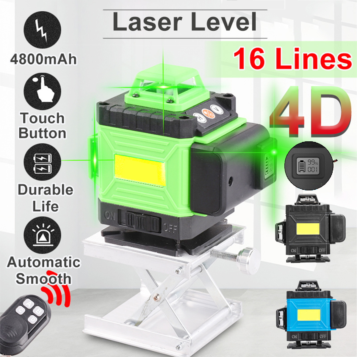 4D 16 Green Lines Laser Level Tripod Self-Leveling 360 Horizontal And Vertical Cross High Accuracy Outdoor Powerful Laser Beam