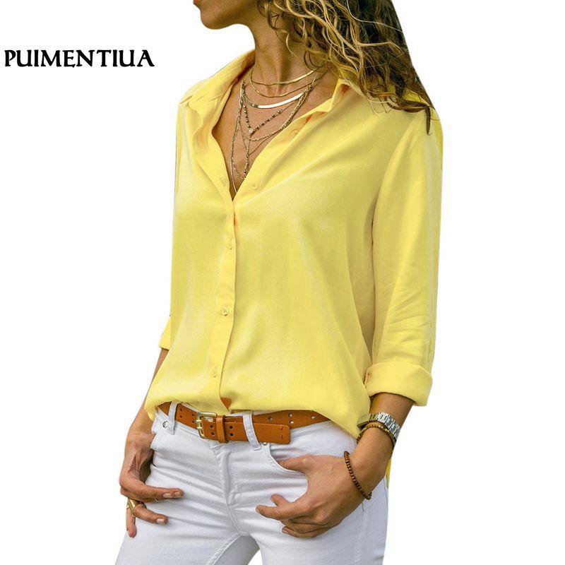 Women Tops Blouses 2019 Autumn Elegant Long Sleeve Solid V-Neck Chiffon Blouse Female Work Wear Shirts Plus Size
