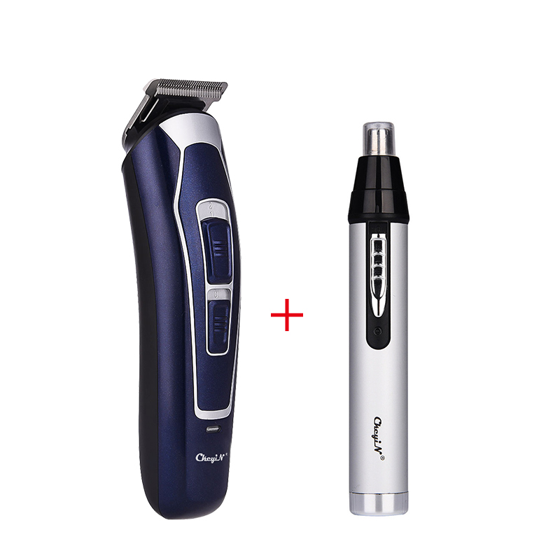 CkeyiN Men Rechargeable Low Noise Professional Cordless Electric Hair Clipper  + 3 In 1 Trimmer Set Nose Ear Hair Trimmer