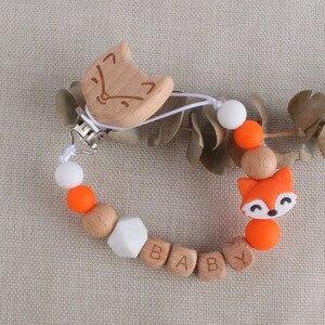 Personalizado nome do bebê de madeira laranja raposa chupeta clipe menino recém-nascido menina manequim clips dentição trela cinta