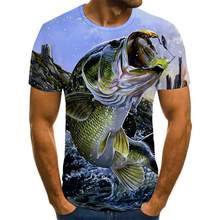 New summer 3D printed fish pattern men and women casual T-shirt Fashion trend youth cool men's t-shirt Hip hop short sleeve