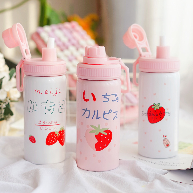 Image 2 - 400ML Cute Pink Strawberry Water Bottle New Kawaii Stainless Steel Thermos Bottle With Straw Birthday Gift For Girl WomenVacuum Flasks & Thermoses   -