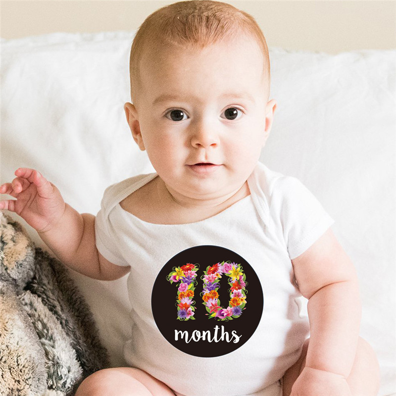 Hot Sale First Year Belly Sticker Baby Monthly Milestone Stickers 1-12 Month Baby Growth Album For Photo Keepsakes (12 Stickers)