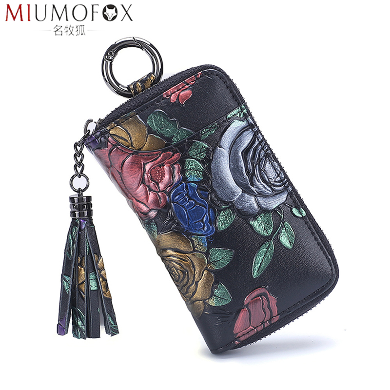 2019 New Painted Rose Genuine Leather Key Holder Pocket Wallet Key Organizer Keychain For Men And Women Key Case Porta Llaves