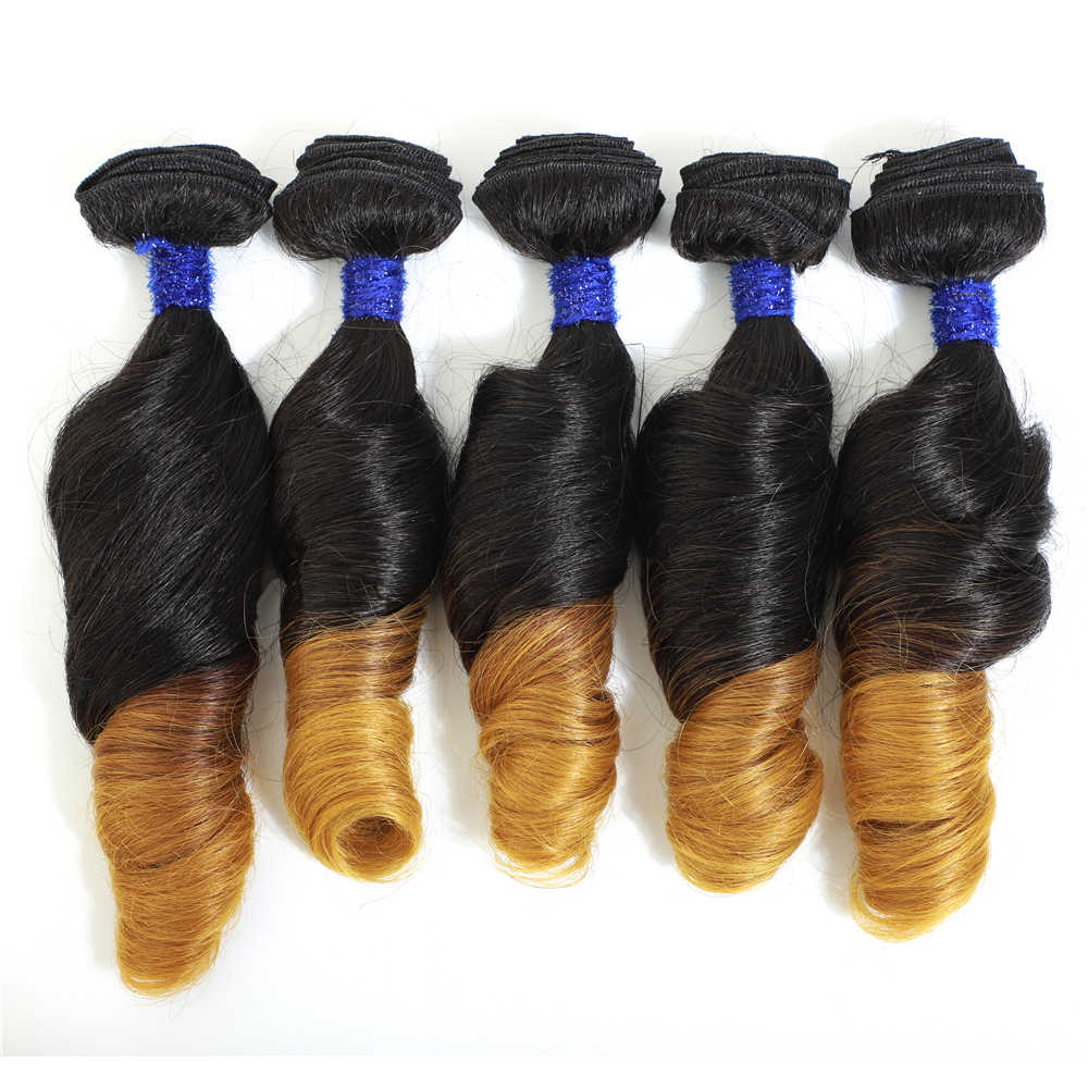 "Romance Curly Hair Extensions Ombre Color Hair Bundles T27 Synthetic Hair Weave 14"" 5 Bundles All In One Pack For Full Head 240g"