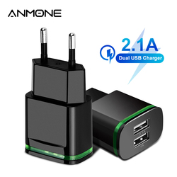 ANMONE Dual USB Wall Charger EU US 5V 2A Quick Charge Mobile Phone Charge Adapter For Xiaomi Samsun Tablet Laptop Charger Plug