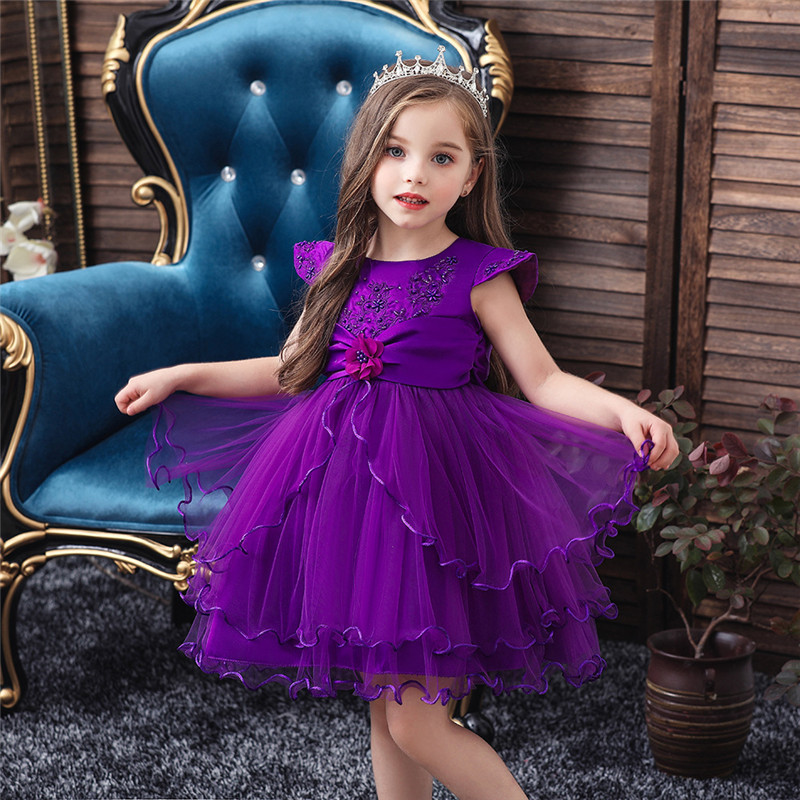 Ant-Kinds 1-6T Kid Baby Girl Flower Girls Tulle Lace Dress for Birthday Prom Wedding