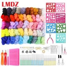 LMDZ Wool Felting Needle Kit Soft Roving Wool Fibre For Needle Felting DIY Doll Needlework Fabric Starter Spinning Craft Sets