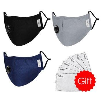 High Quality 3pcs Unisex Cotton Breath Valve Face Mouth Mask Cloth Activated Carbon Filter Respirator For Men Women 4 Colors 12