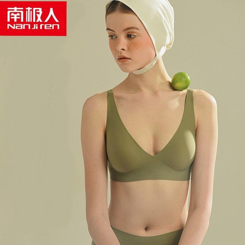 NANJIREN Women Bra Underwear Lady Lingerie One-piece Bra Four Hook-and-eye Nylon Solid Wire Free Non-adjusted Straps Bras