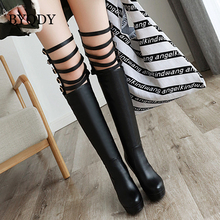 BYQDY Plus Size 34-43 Sexy Over The Knee Boots Thick Heels Shoes Round Toe Platform Hollow Thigh High Boots Feminino For Girls цена