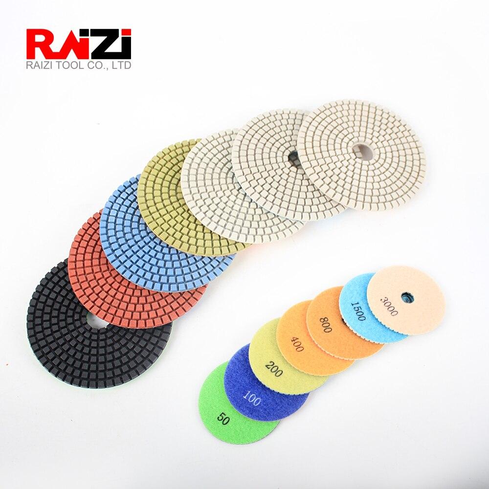 Raizi 4 Inch/100 Mm Factory Price Diamond Granite Polishing Pads 7 Step Wet Granite Sanding Disc