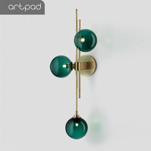 Artpad Post-modern Metal Wall Led Light Living room TV Background 3 Light Wall Lamp with Green/Clear Lampshade G4 Bulb Inlcuded