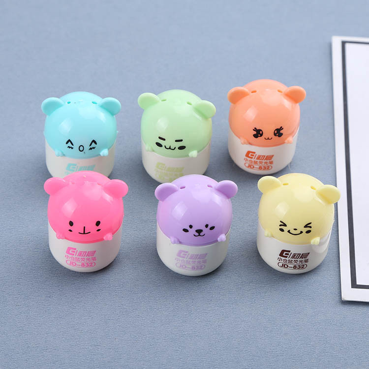 Cute Hamster 6 Color Painting Highlighter Pen Mini School Office Fluorescent Marker Pen Children's Learning Gifts