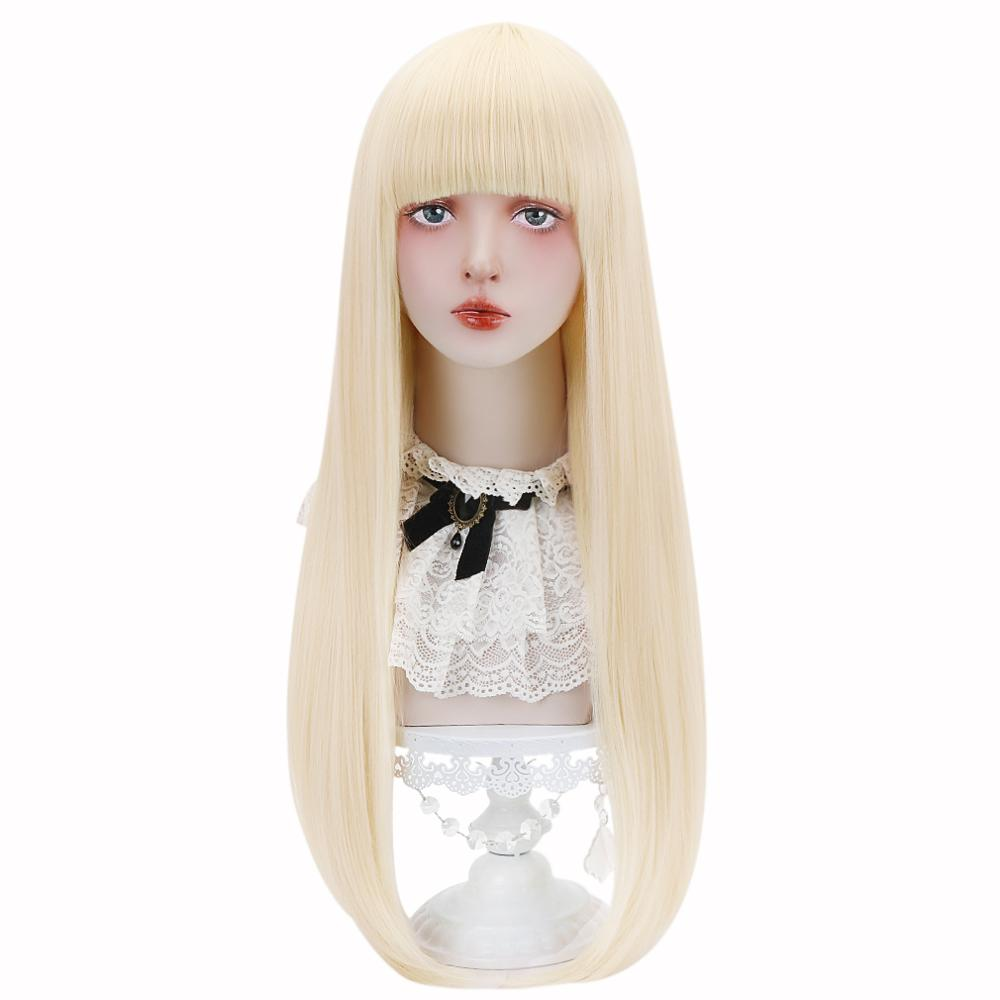 Free Beauty Long Straight Synthetic Blonde Rich Copper Pink Hair Wigs with Bangs for Women Lolita Cosplay Costume Halloween