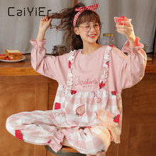 Caiyier 2020 Корейская Милая Ночная одежда с круглым вырезом