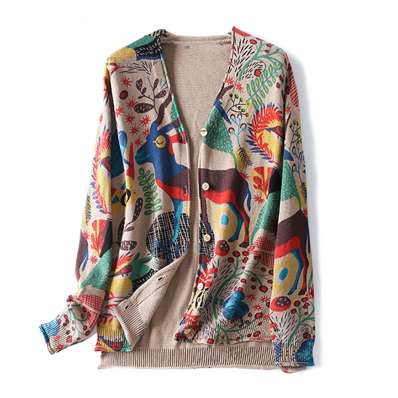Women Spring Knit Kimono Cardigan Sweater Ethnic Vintage Pattern Long Sleeve Open Front Soft Outerwear Knitwear Buttons
